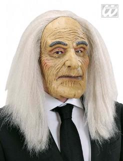 Gruselige Butler-Maske Halloween-Maske mit Haaren beige-weiss