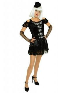 Burlesque Gothic-Damenkostüm mit Hütchen schwarz