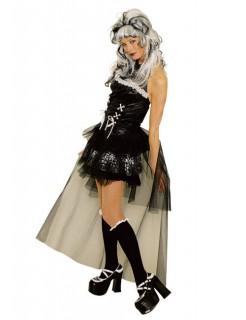 Damen-Kostüm Verruchte Gothic-Lady Burlesque schwarz-weiss