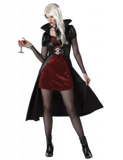 Blutrünstige Vampir Lady Halloween Damenkostüm schwarz-bordeaux