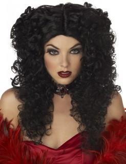 Vampir-Perücke mit Locken Accessoire schwarz