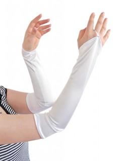 Lange Gala-Handschuhe fingerlos 42 cm weiss