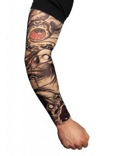 Tattoo-Ärmel Kostümaccessoire Biker schwarz-weiss-rot