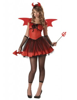 Sexy Dämonin Teufel-Damenkostüm rot-schwarz