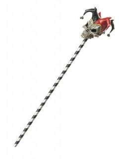 Harlekin Totenkopf-Stab für Erwachsene schwarz-weiss-rot 102cm