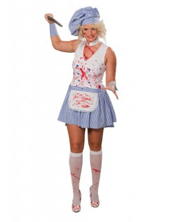 Blutige Horror-Köchin Halloween Damenkostüm weiss-blau-rot