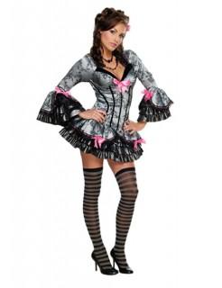 Sexy French Kiss-Kostüm für Damen Barock grau-schwarz