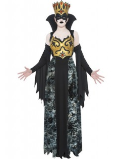Dunkles Königinnen-Kostüm für Damen schwarz-gold