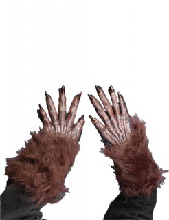 Halloween Werwolf Handschuhe braun