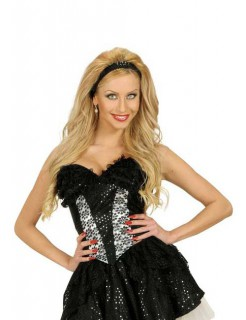 Pailetten-Korsage Halloween Kostüm-Accessoire schwarz-silber