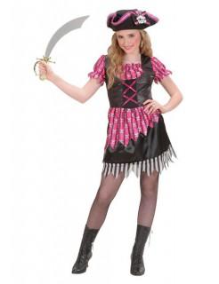 Schicke Piratin Kinder-Kostüm pink