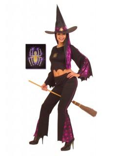 Spinnen-Hexe Damenkostüm Halloweenkostüm schwarz-lila