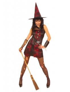 Punk-Hexe Damenkostüm Halloween schwarz-rot