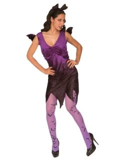 Fledermaus Lady Halloween Damenkostüm lila-schwarz