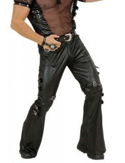 Gothic Leder-Hose mit Schnallen schwarz