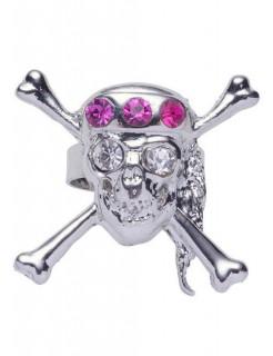 Totenkopf Ring mit Strass silber-pink