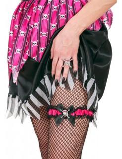 Piratin Strumpfband mit Strass schwarz-pink