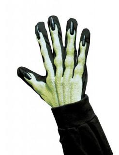 Nachtleuchtende 3D Hexen-Handschuhe grün-schwarz