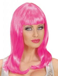 Damen-Perücke mit Pony lange Haare Kostüm-Accessoire pink
