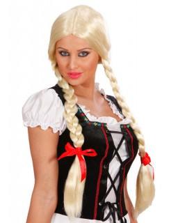 Zopf-Perücke mit Schleifen Halloween blond-rot