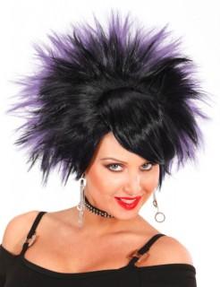 Rockerin Perücke schwarz-lila