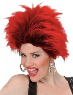 Punkerin-Perücke Kostüm-Accessoire rot-schwarz