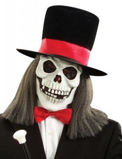 Skelettmaske mit Zylinder schwarz-rot
