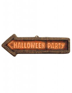 Wegweiser Schild Halloween-Party Deko braun-orange 56x17cm
