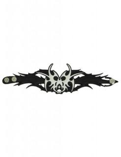 Totenkopf-Armband Tribal Kostüm-Accessoire schwarz-weiss