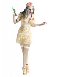 Zombie Krankenschwester Halloween Damenkostüm beige