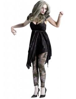 Untote Zombie-Frau Halloween Damenkostüm grau-schwarz