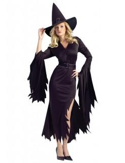 Gothic Hexe Halloween Damenkostüm Zauberin schwarz