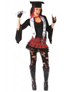 Punk Diplomandin Schulmädchen Damenkostüm schwarz-rot