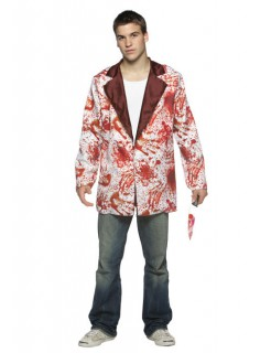 Blutiger Halloween Blazer weiss-rot