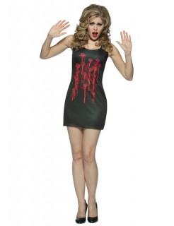 Blutiges Kleid mit Einschusslöchern Halloween Damenkostüm schwarz-rot