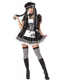 Ragdoll Puppe Püppchen Halloween Damenkostüm schwarz-weiss