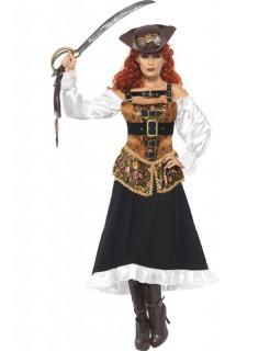 Steampunk-Piratin Damenkostüm Halloweenkostüm braun-schwarz-weiss