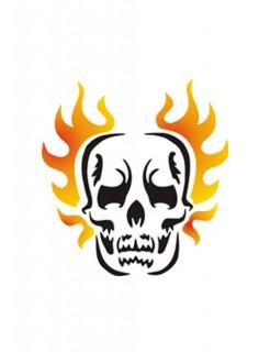Selbstklebe Schablone Skull Make-Up Zubehör schwarz-orange