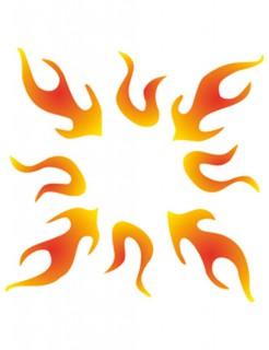 Tattoo-Schablone Flamme selbstklebend grau 5,5x5,5cm