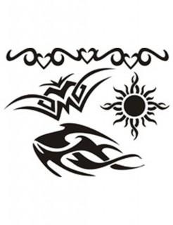 Tribal-Schablonenset selbstklebend 4 Stück schwarz