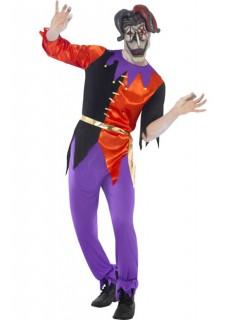 Horror Psycho Harlekin Clown Halloween Kostüm lila-rot-schwarz