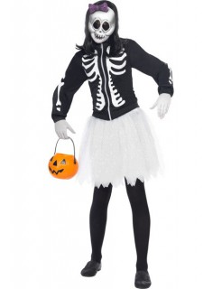 Skelett Gothic Puppe Halloween Damenkostüm schwarz-weiss-lila
