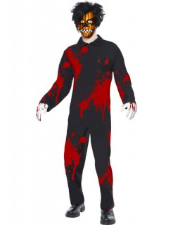 Horror Psycho Kürbis Puppe Halloween Herrenkostüm schwarz-rot-orange