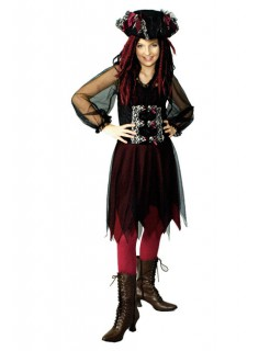 Piratin-Damenkostüm Totenkopf-Motiv schwarz-rot