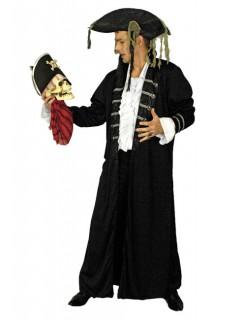 Piraten-Mantel für Herren Halloween-Kostüm schwarz-silber
