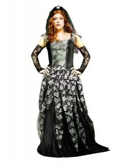 Gothic Brautkostüm schwarz-weiss-silber