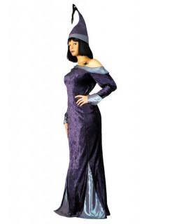 Hexen-Damenkostüm Halloween lila-grau