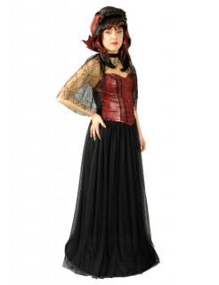 Vampirin Gothic Gräfin Halloween Damenkostüm schwarz-rot