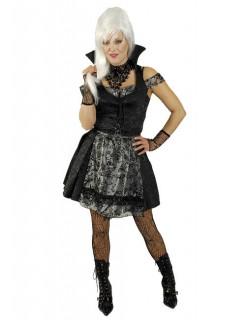 Gothic Dirndl Vampirin Damenkostüm schwarz-silber