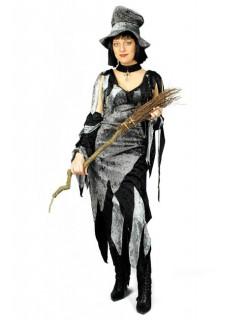 Hexe Zauberin Samt Damenkostüm silber-schwarz